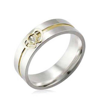 Aliança Prata Filete e Coração em Ouro 6mm