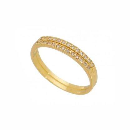 Anel Aparador Semi Jóia Dourado com Pedras