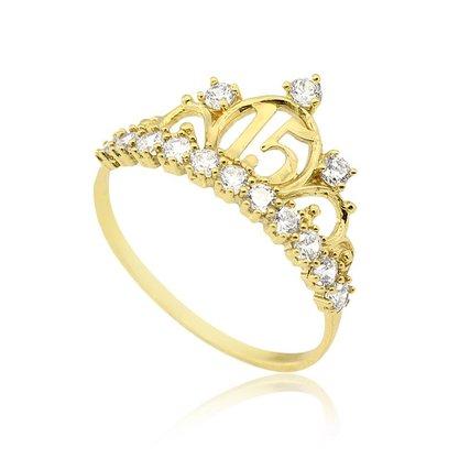 Anel Ouro 416 15 Anos Coroa 14 Zircônias