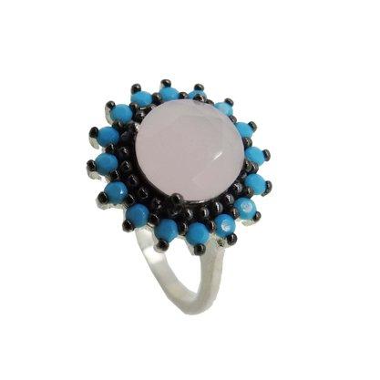 Anel Prata com Pedra Rosa e Azul