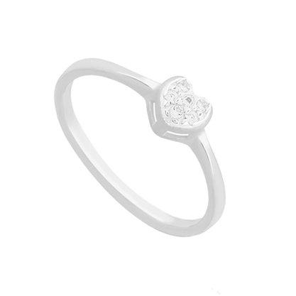 Anel Prata Feminino Coração com Pedras