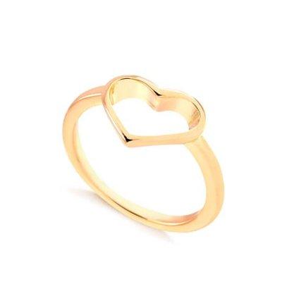 Anel Semi Jóia Dourado Coração