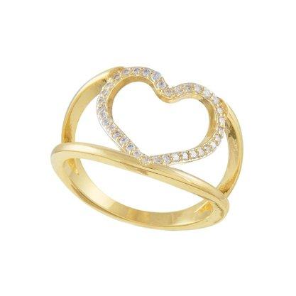Anel Semi Jóia Dourado Coração com Pedras