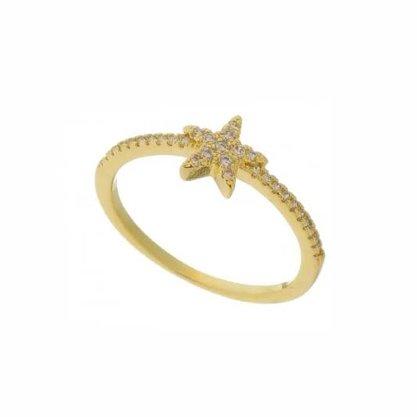 Anel Semi Jóia Dourado Estrela com Pedras