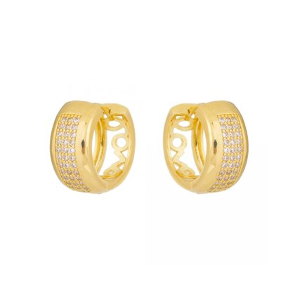 Argola Semi Jóia Dourada com Pedras