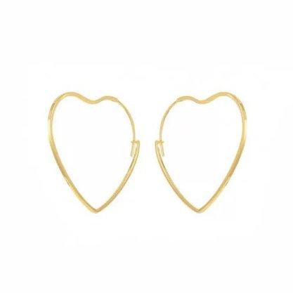 Argola Semi Jóia Dourada Coração