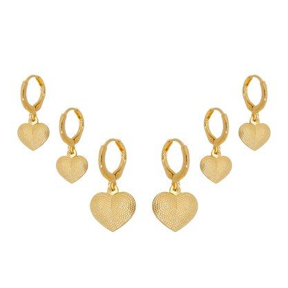 Argola Semi Jóia Dourada Trio Coração