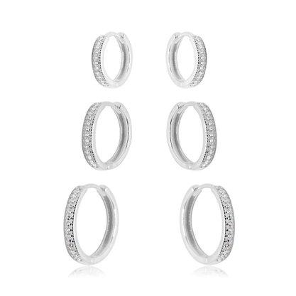 Argola Trio Prata com Pedras