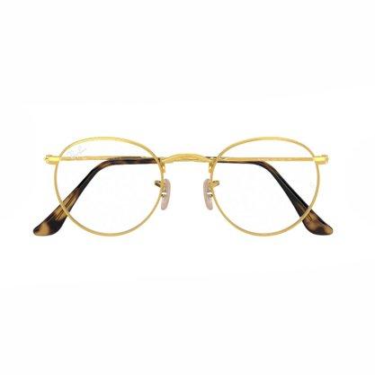 Armação para Óculos Ray Ban Round Dourada