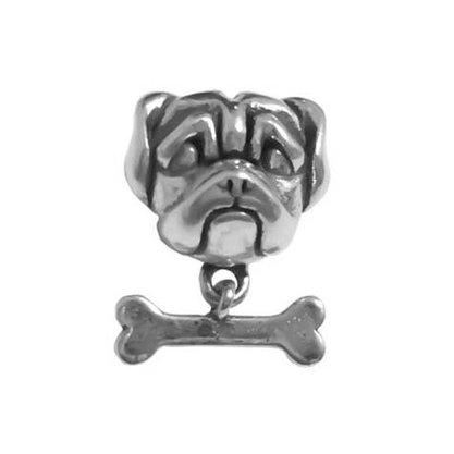 Berloque Prata Bulldog com Osso