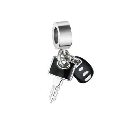 Berloque Prata Chave e Controle de Carro