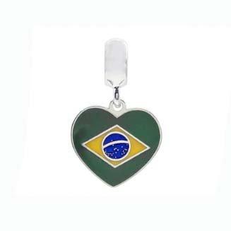 Berloque Prata Coração do Brasil