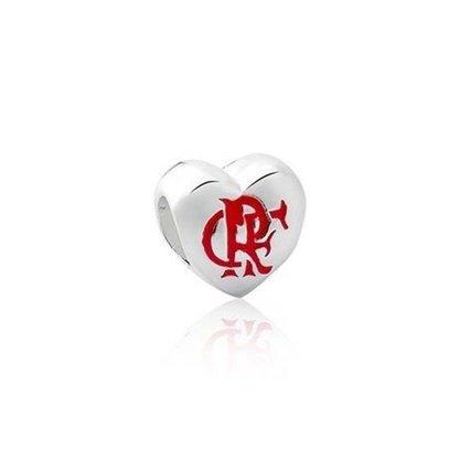 Berloque Prata Coração Flamengo