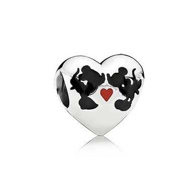 Berloque Prata Coração Minnie Mickey