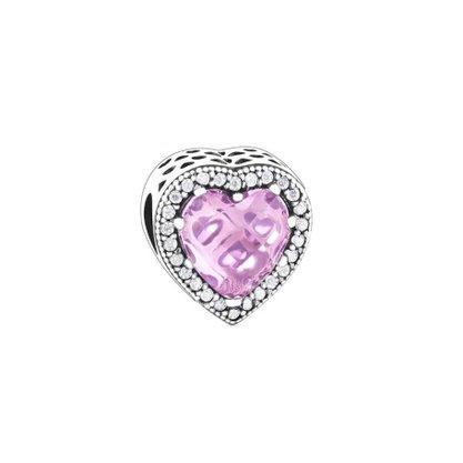 Berloque Prata Coração Pedra Rosa