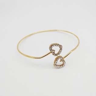 Bracelete Semi Jóia Dourada 2 Corações