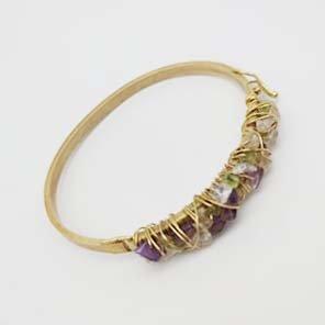 Bracelete Semi Jóia Dourada com Pedras