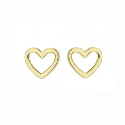Brinco Semi Jóia Dourada Coração
