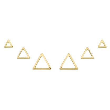 Brinco Semi Jóia Dourada Trio Triângulo