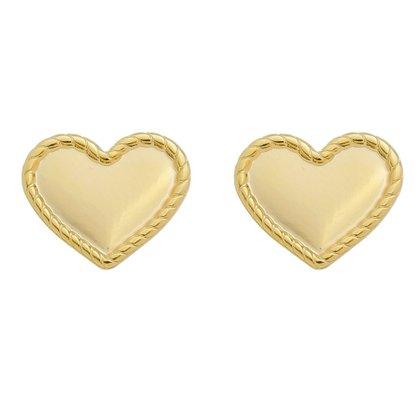 Brinco Semi Jóia Dourado Coração