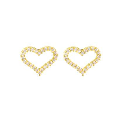 Brinco Semi Jóia Dourado Coração com Pedras
