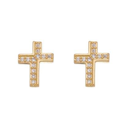 Brinco Semi Jóia Dourado Crucifixo com Pedras