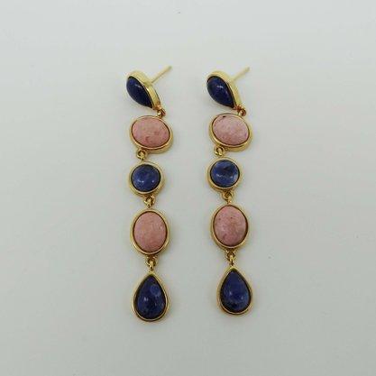 Brinco Semi Jóia Pedra Rosa e Azul