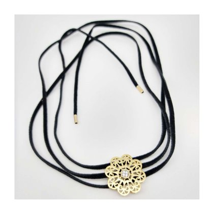 Chocker Courino Preto Pingente Flor