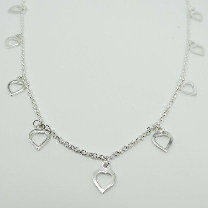 Colar Prata comprido Pingentes Coração