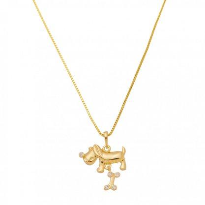Colar Semi Jóia Dourado Cachorro com Osso