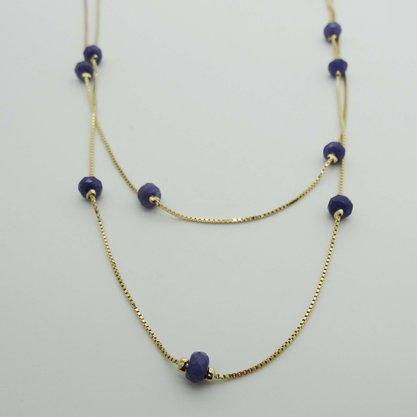Colar Semi Jóia Dourado Comprido Pingente Pedra Azul