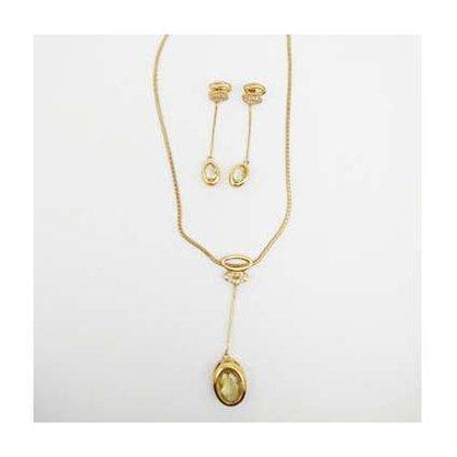 Conjunto Semi Jóia Dourado com Pedras