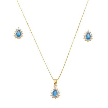 Conjunto Semi Jóia Dourado Pedra Azul