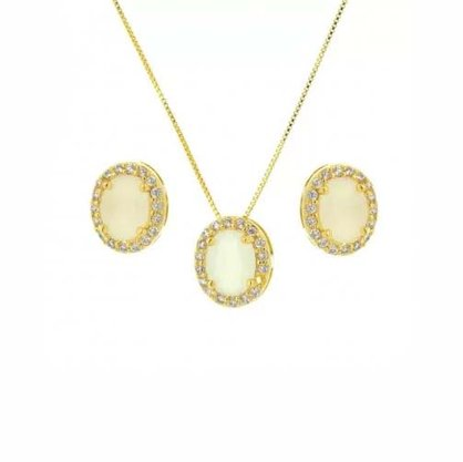 Conjunto Semi Jóia Dourado Pedra