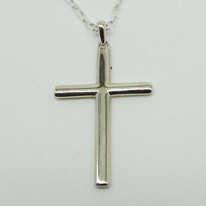 Corrente Prata Masculina Pingente Crucifixo