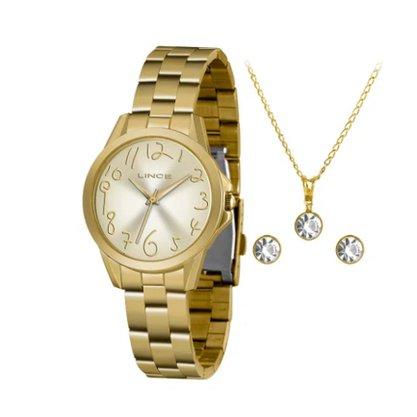 Kit Relógio Feminino Dourado