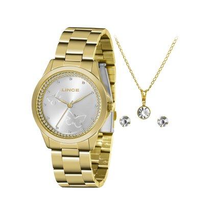 Kit Relógio Lince Feminino Dourado