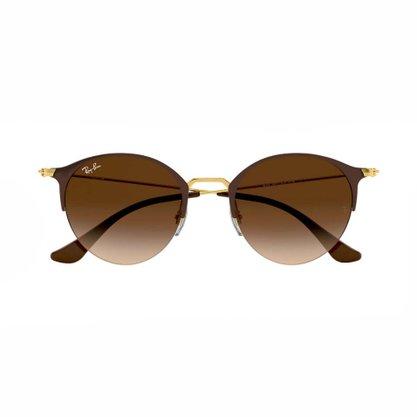 Óculos Solar Ray Ban Marrom com Dourado