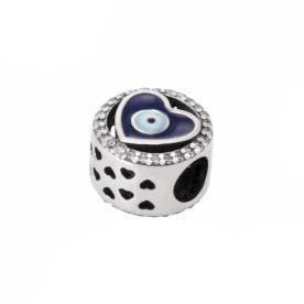 Berloque Prata Coração Olho Grego