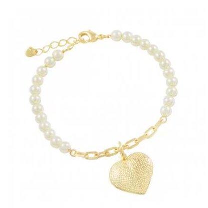Pulseira Semi Jóia Dourada Pérola e Coração