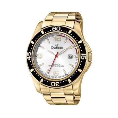 Relógio Champion Masculino Dourado Calendário