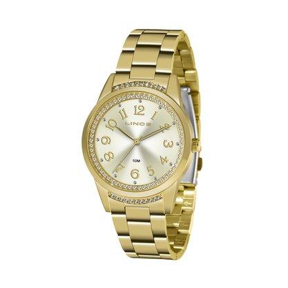 Relógio Lince Feminino Dourado com Pedras