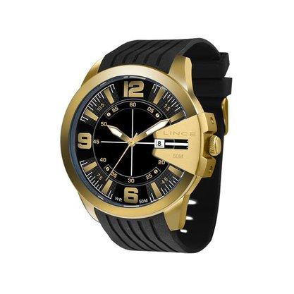Relógio Lince Masculino Dourado Calendário