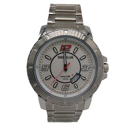 Relógio Seculus Masculino Prata Calendário