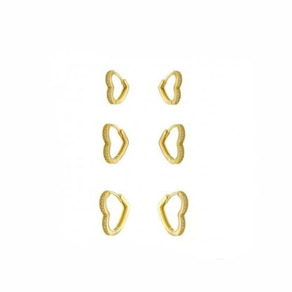 Trio Argola Semi Jóia Dourada Coração