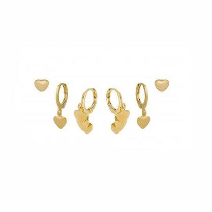 Trio Argolas Semi Jóia Dourado Coração