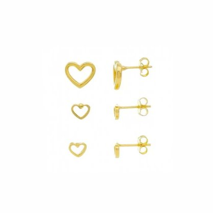 Trio Brinco Semi Jóia Dourado Coração